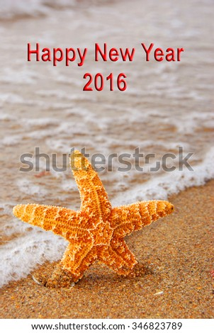 Happy New Year 2016 Starfish Ocean - stock photo