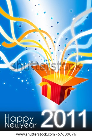 happy new year 2011 surprise gift box with a lot of ribbon and star decoration - stock photo