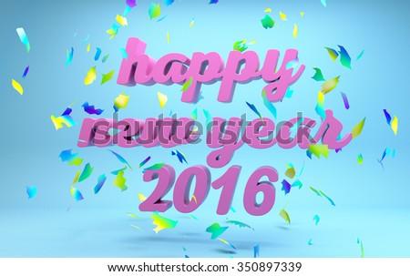 Happy New year 2016 text - stock photo