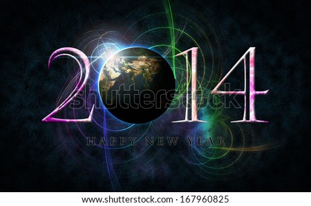 Happy New Year 2014 text and number arrangement with space concept and colorful as background. Earth Map and Globe shape courtesy of NASA.