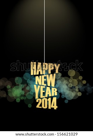 Happy new year 2014 text background - stock photo