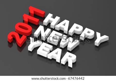 Happy New Year 2011, text on black. Computer generated 3D photo rendering - stock photo