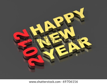 Happy New Year 2012, text on black. Computer generated 3D photo rendering