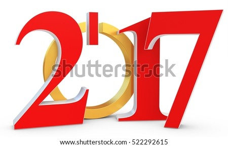 happy new year 2017 text  on white background 3D illustration