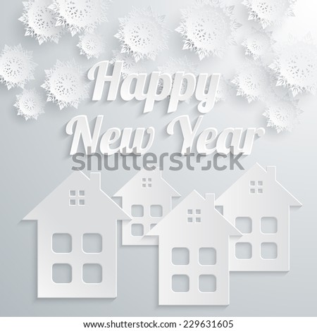 Happy New Year town with snowflakes and buildings on gray background paper style. Raster version - stock photo