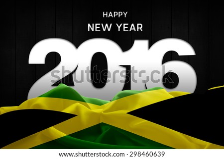 Happy New Year 2016 typography and Jamaica waving Flag - stock photo