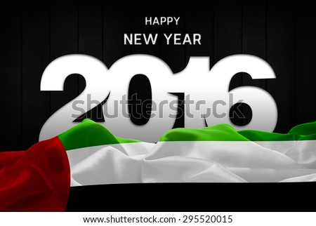 Happy New Year 2016 typography and UAE waving Flag - stock photo