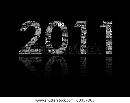happy new year 2011 typography on black background; perfect to color it yourself - stock photo