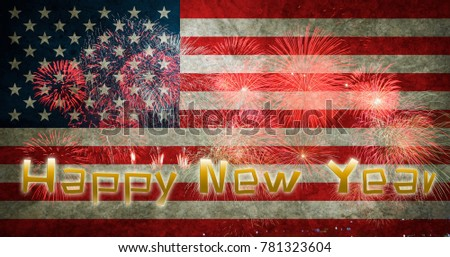 happy new year 2018 usa flag with fireworks background
