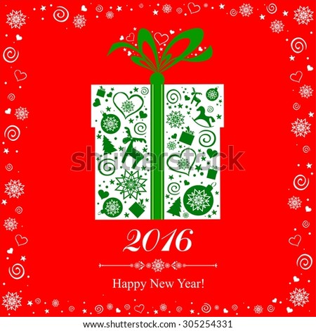 Happy new year 2016! Vintage card. Celebration background with Christmas gift box and place for your text. Illustration  - stock photo