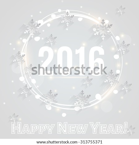 Happy New Year 2016! White greeting card with paper snowflakes. Flat design. Raster illustration. - stock photo