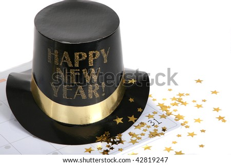 Happy New Year with calendar - stock photo