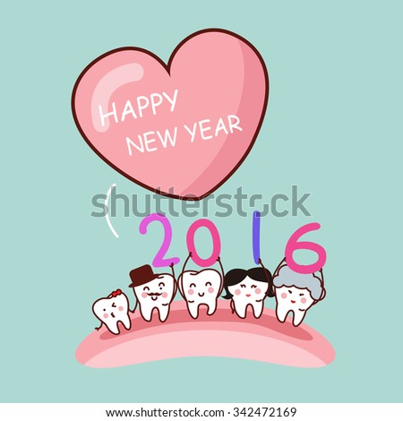 Happy new year with cartoon tooth family, great for health dental care concept - stock photo