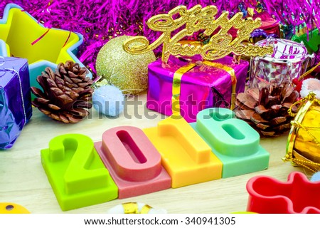 Happy new year 2016 with Christmas set elements