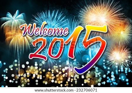 Happy New Year 2015 with colorful fireworks - stock photo