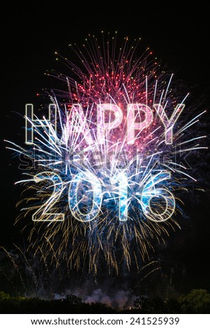 Happy New Year 2016 with colorful sparklers. The words Happy 2016 are integrated into the fireworks with black background - stock photo