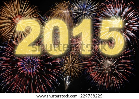 happy new year 2015 with firework - stock photo