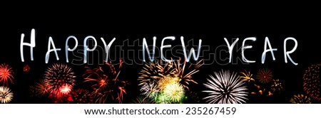 Happy New Year With Fireworks - stock photo