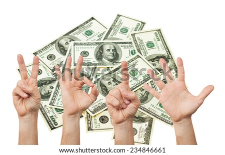Happy new year with hands forming number 2015 against background of lot of cash dollars. Hand concept