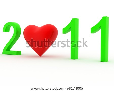 Happy New Year 2011 with Love - stock photo