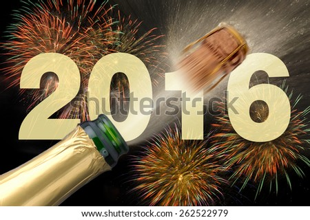 Happy new year 2016 with popping champagne - stock photo