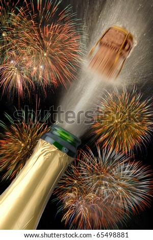 happy new year with popping champagne bottle, flying cork and firework - stock photo