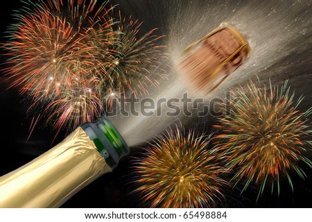 happy new year 2012 with popping champagne cork and firework at background - stock photo
