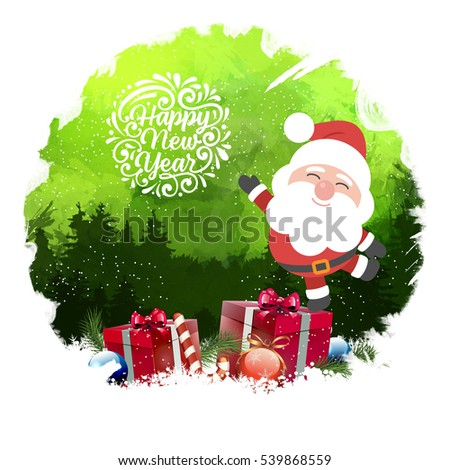 Happy New Year with santa 2017 with digital background Greeting Card.