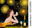 Happy New Year with woman - stock photo