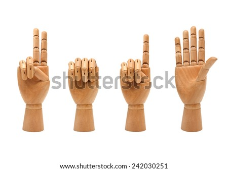 happy new year with wooden hands forming number 2015 - stock photo