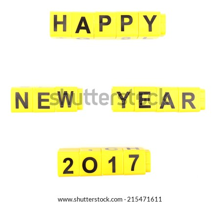 Happy New Year word formed by educational cubes, isolated on white - stock photo