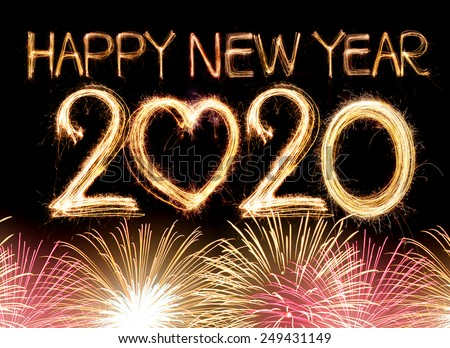 Happy new year 2020 word made from sparkler light firework - stock photo