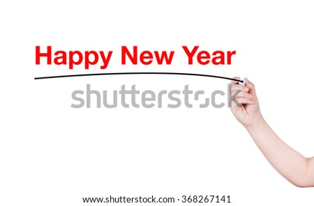 Happy New Year  word write on white background by woman hand holding highlighter pen