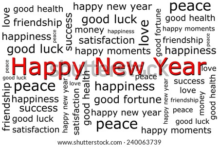 Happy new Year wordcloud - stock photo
