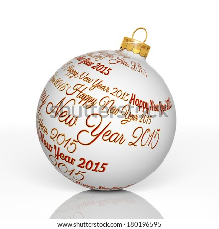 Happy new year 2015 written on Christmas ball  - stock photo