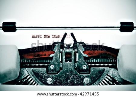 Happy New Year written on the typewriter - stock photo
