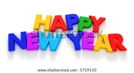 Happy New Year written with colorful letter magnets