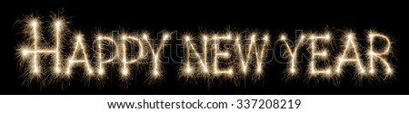 Happy new year 2016 written with sparkle firework