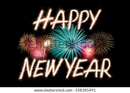 Happy new year written with Sparkle firework - stock photo