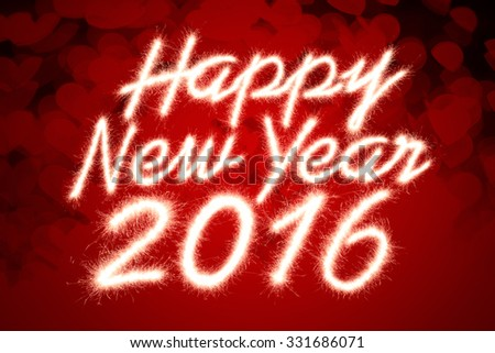 Happy new year 2016 written with Sparkle firework over red heart shaped background - stock photo