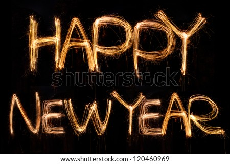 happy new year written with Sparkling figures. - stock photo