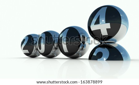 Happy new Year 2014 - year spheres calendar - stock photo