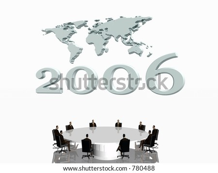 Happy New years wishes with a world map in the background, the start of a new fiscal year.  3D illustration.  Economy concept.