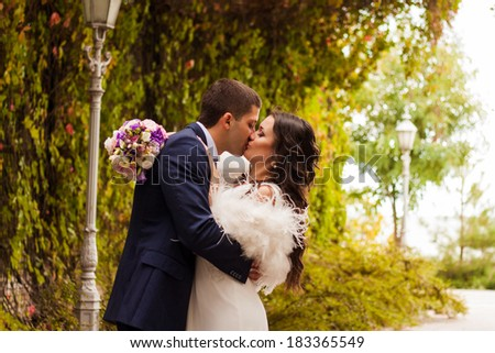 Happy newlyweds in park. Loving young bride and groom are kissing. - stock photo