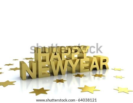 Happy newyear 2011 gold illustration on white - stock photo