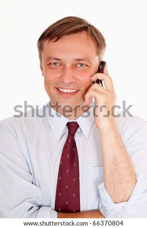 happy nice business man on a white background