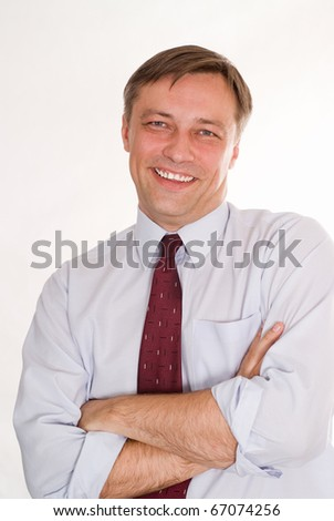 happy nice business man on a white background - stock photo