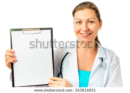 happy nurse and a blank for your inscription - stock photo