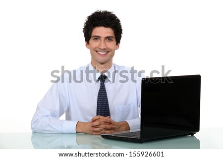Happy office worker - stock photo