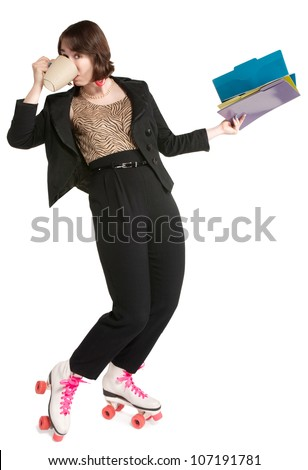 Happy office worker with pink roller skates - stock photo